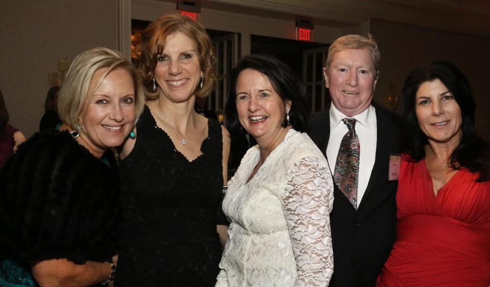 John Reilly of Hull with (from left) Deb Hoffman, Dr. Sue Decoste, Gina Flannery, and Amy Murray, all of Hingham.